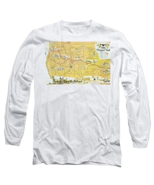 Map Of The Old Oregon Trail Long Sleeve T-Shirt