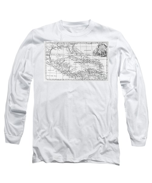 Map Of The West Indies Florida And South America Long Sleeve T-Shirt