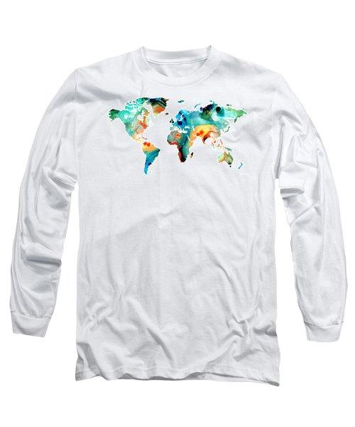 Map Of The World 11 -colorful Abstract Art Long Sleeve T-Shirt