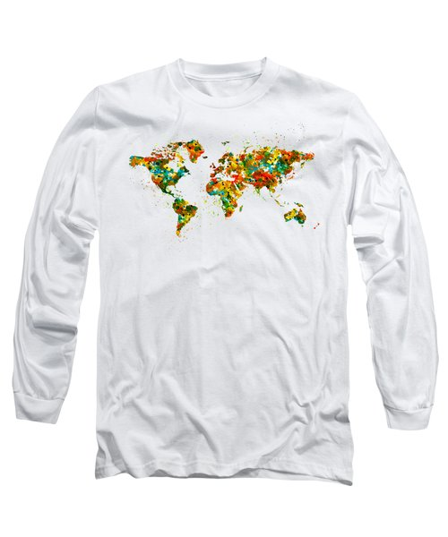 Map Of The World Watercolor Long Sleeve T-Shirt