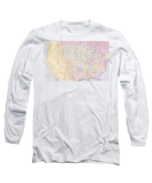Map Showing The Localities Of The Indian Tribes Of The Us In 1833 Long Sleeve T-Shirt by Thomas L McKenney and James Hall