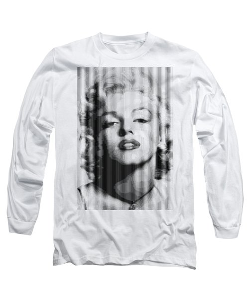 Marilyn Monroe - Bw Verticals  Long Sleeve T-Shirt by Samuel Majcen