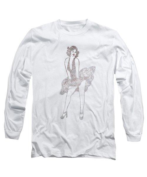 Marilyn Monroe Drawing Sketch Long Sleeve T-Shirt