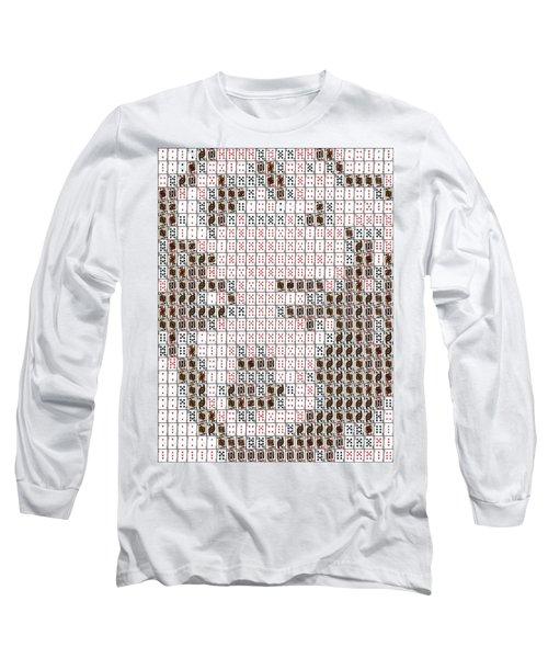Long Sleeve T-Shirt featuring the mixed media Marilyn Monroe Playing Card Mosaic by Paul Van Scott