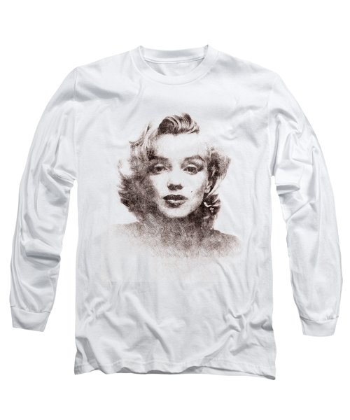 Marilyn Monroe Portrait 04 Long Sleeve T-Shirt by Pablo Romero