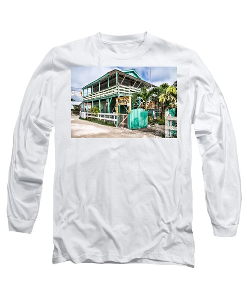 Long Sleeve T-Shirt featuring the photograph Marin's On Caye Caulker by Lawrence Burry