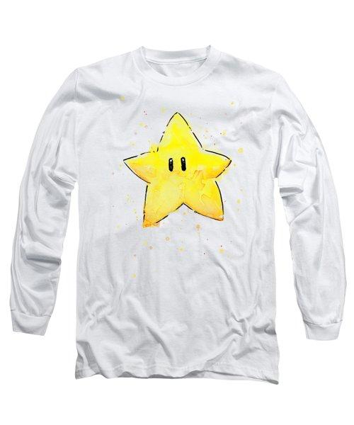 Mario Invincibility Star Watercolor Long Sleeve T-Shirt