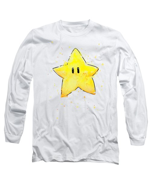 Mario Invincibility Star Watercolor Long Sleeve T-Shirt