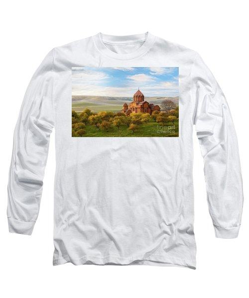 Marmashen Monastery Surrounded By Yellow Trees At Autumn, Armeni Long Sleeve T-Shirt by Gurgen Bakhshetsyan