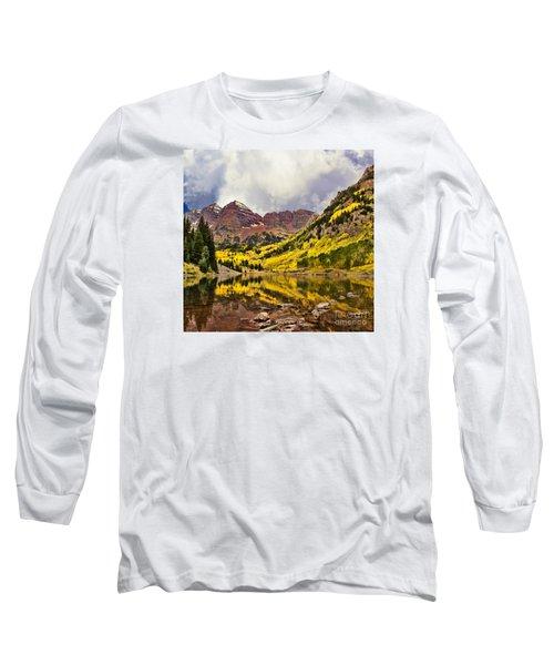 Maroon Bells Lake Long Sleeve T-Shirt by Steven Parker