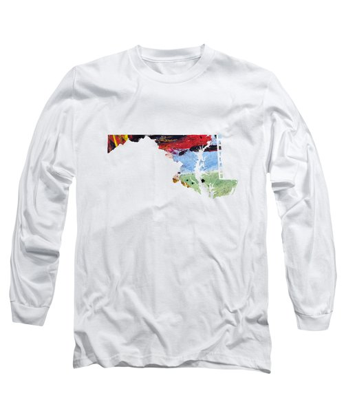 Maryland Map Art - Painted Map Of Maryland Long Sleeve T-Shirt