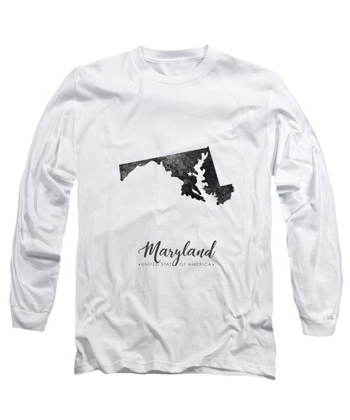 Maryland State Map Art - Grunge Silhouette Long Sleeve T-Shirt