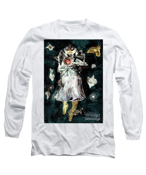 Long Sleeve T-Shirt featuring the painting Masked Angel Holding The Sun by Genevieve Esson