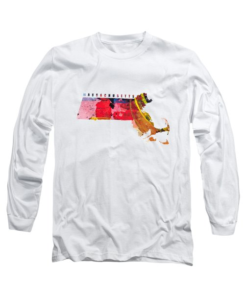 Massachusetts Map Art - Painted Map Of Massachusetts Long Sleeve T-Shirt