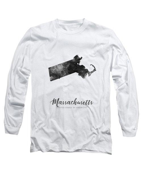 Massachusetts State Map Art - Grunge Silhouette Long Sleeve T-Shirt