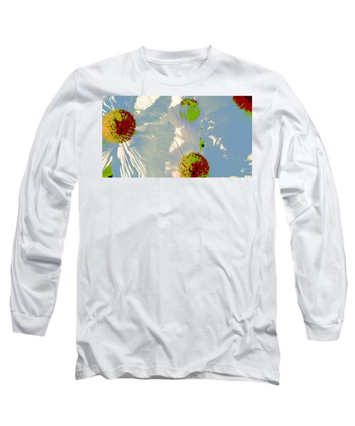 Long Sleeve T-Shirt featuring the photograph Matilija Poppies Pop Art by Ben and Raisa Gertsberg