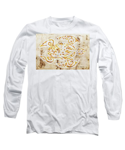 Long Sleeve T-Shirt featuring the painting Mayan Turtle by J- J- Espinoza