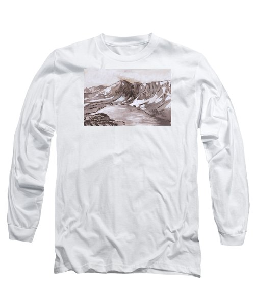 Long Sleeve T-Shirt featuring the painting Medicine Bow Peak Historical Vignette by Dawn Senior-Trask