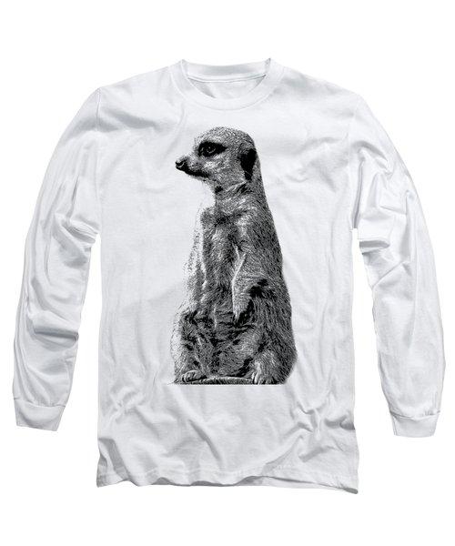 Meerkat Etching Long Sleeve T-Shirt by Greg Noblin