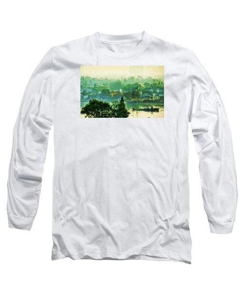 Long Sleeve T-Shirt featuring the digital art Mekong Morning by Cameron Wood