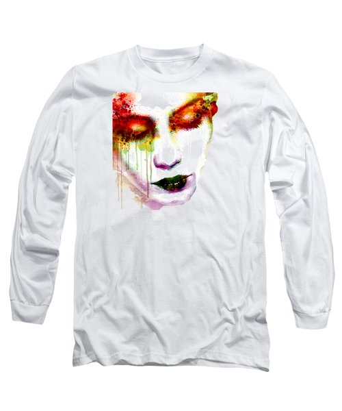 Melancholy In Watercolor Long Sleeve T-Shirt by Marian Voicu