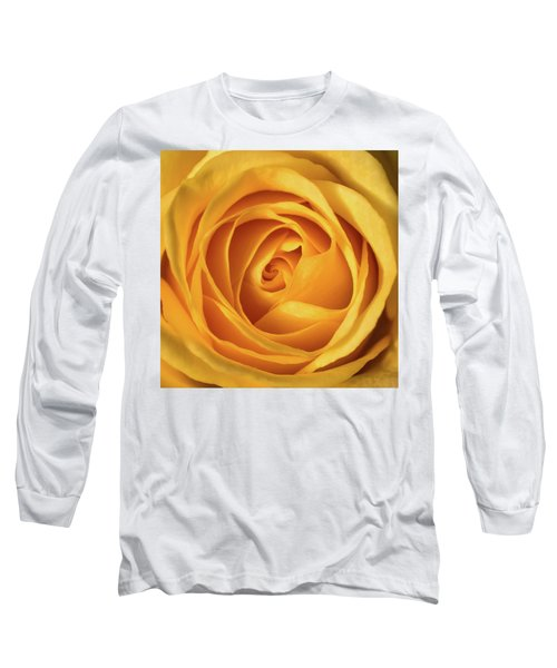 Long Sleeve T-Shirt featuring the photograph Mellow Yellow Rose Square by Terry DeLuco