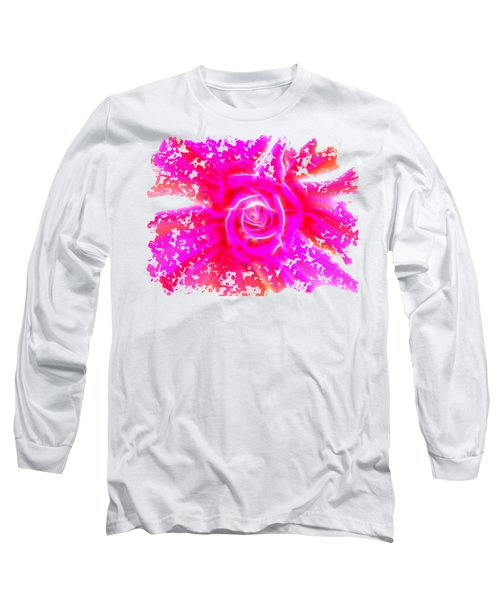 Melting Pink Rose Fractalius Long Sleeve T-Shirt