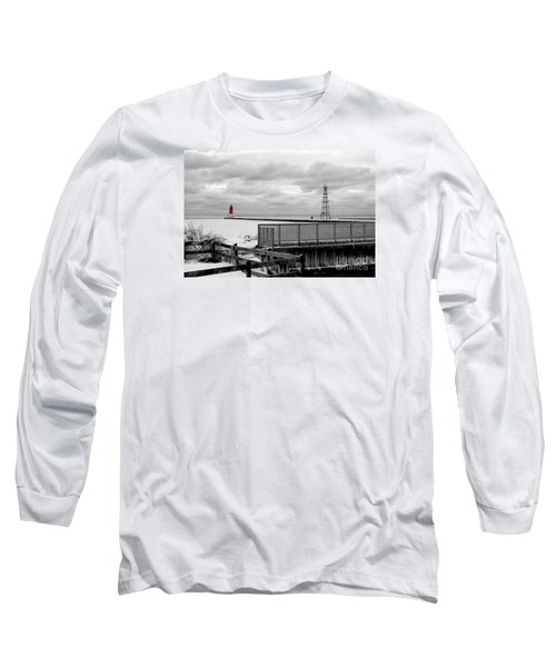 Long Sleeve T-Shirt featuring the photograph Menominee North Pier Lighthouse On Ice by Mark J Seefeldt