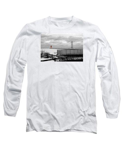 Menominee North Pier Lighthouse On Ice Long Sleeve T-Shirt