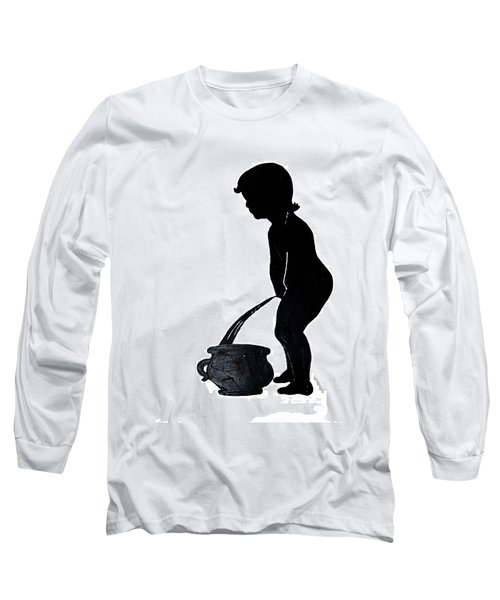 Mens Room Sign Silhouette Long Sleeve T-Shirt by Sally Weigand