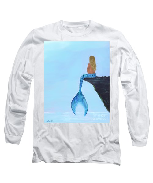 Long Sleeve T-Shirt featuring the painting Mermaids Bundle To Be by Leslie Allen