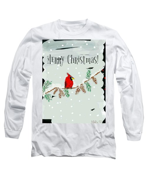 Merry Christmas Cardinal Long Sleeve T-Shirt