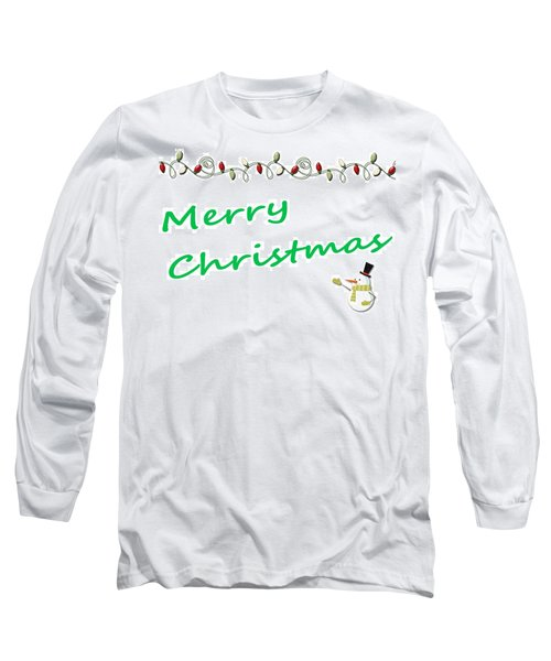 Merry Christmas Little Snow Man On White 2 Long Sleeve T-Shirt