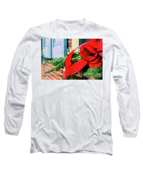 Merry Christmas Window Bow Long Sleeve T-Shirt