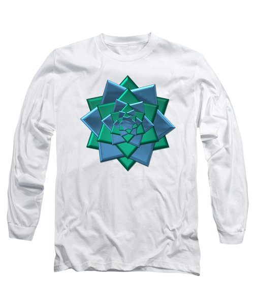 Metallic Blue And Green 3-d Look Gift Bow Long Sleeve T-Shirt