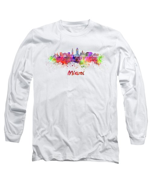 Miami V2 Skyline In Watercolor Long Sleeve T-Shirt