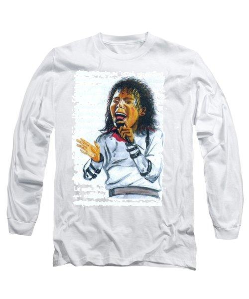 Long Sleeve T-Shirt featuring the painting Michael Jackson by Emmanuel Baliyanga