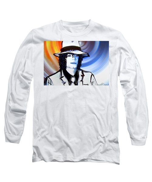 Michael Jackson White Fedora Alcohol Inks Long Sleeve T-Shirt by Danielle  Parent