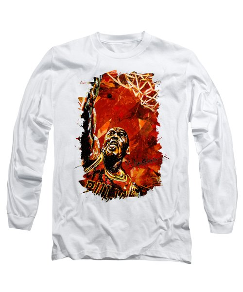 Michael Jordan Long Sleeve T-Shirt by Maria Arango