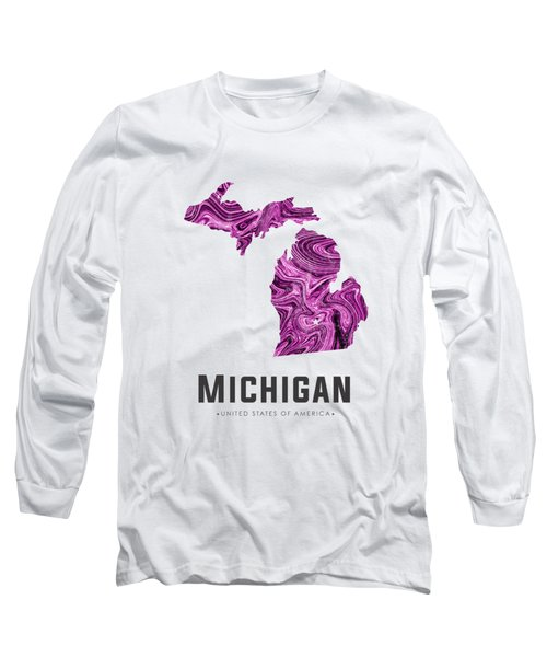 Michigan Map Art Abstract In Purple Long Sleeve T-Shirt