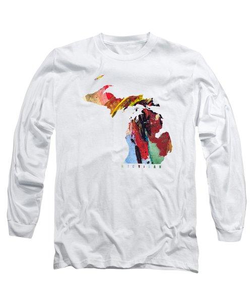 Michigan Map Art - Painted Map Of Michigan Long Sleeve T-Shirt