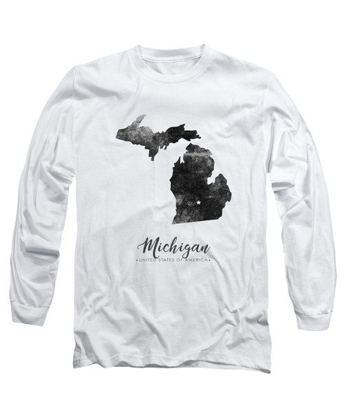 Michigan State Map Art - Grunge Silhouette Long Sleeve T-Shirt