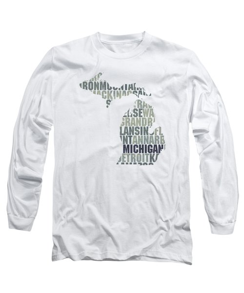Michigan State Outline Word Map Long Sleeve T-Shirt by Design Turnpike