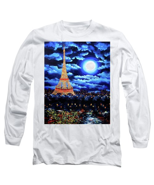 Midnight In Paris Long Sleeve T-Shirt by Laura Iverson