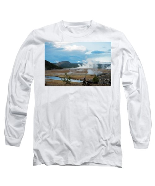 Midway Geyser Area Long Sleeve T-Shirt by Cindy Murphy - NightVisions