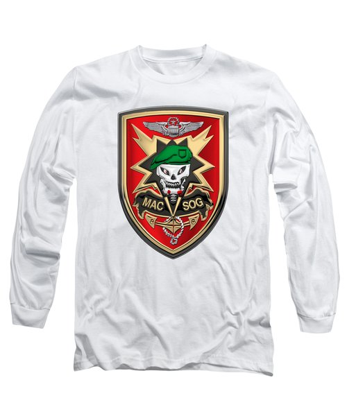 Military Assistance Command, Vietnam - Studies And Observations Group Patch Over White Leather Long Sleeve T-Shirt by Serge Averbukh