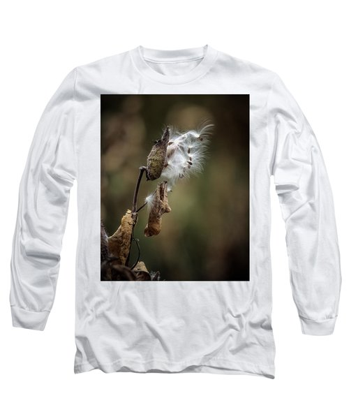 Milkweed Plant Dried And Blowing In The Wind Long Sleeve T-Shirt by John Brink