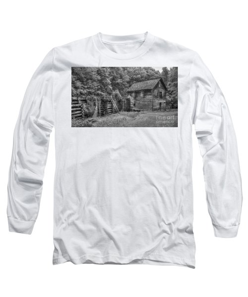 Long Sleeve T-Shirt featuring the photograph Mingus Mill Black And White Mingus Creek Great Smoky Mountains Art by Reid Callaway