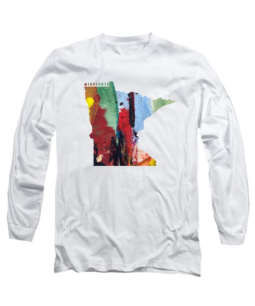 Minnesota Map Art - Painted Map Of Minnesota Long Sleeve T-Shirt