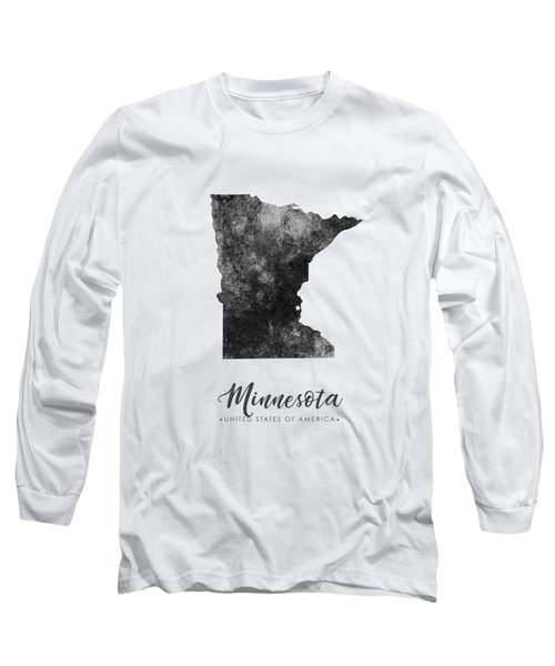 Minnesota State Map Art - Grunge Silhouette Long Sleeve T-Shirt